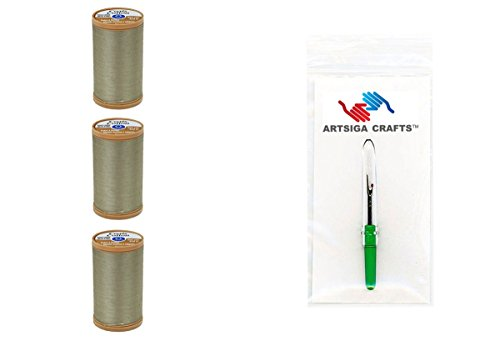 Coats & Clark Machine Quilting 100% Egyptian Cotton Thread 350 Yds (3-Pack) Green Linen with 1 Artsiga Crafts Seam Ripper S975-6180-3P (Cotton Thread Linen)