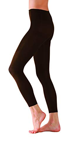Foot Traffic Microfiber Footless Tights, Cute, Quirky & Comfortable, Brown (One Size Fits Most) ()