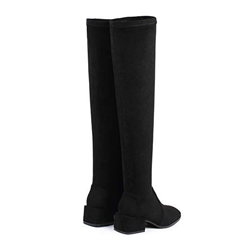 Inverno High Stivali Square Scarpa Rising unita Rosegal Knee Black Fashion tinta Block Toe Ankle Nero Stivali Long Donna Heel Rider q0AUIwB