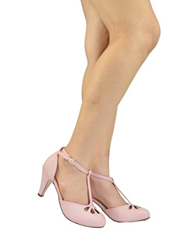 Chase & Chloe Kimmy-36 Womens Teardrop Cut Out T-Strap Mid Heel Dress Pumps Rose Pink Pu vGDWrG