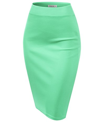CLOVERY Women's Basic Comfort Stretch Cotton Elastic Waist Knee Length Pencil Skirt Cyan S