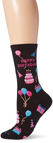 Cotton Candy Dot - Hot Sox Women's Originals Classics Novelty Crew Socks, Happy Birthday/Black, Shoe Size: 4-10