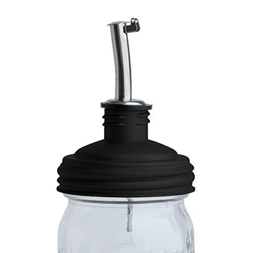 reCAP Mason Jars Lid ADAPTA Pour Tap Oil Pourer, Regular Mouth, Black