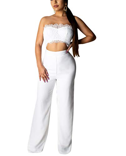 Strapless Bandage - Ophestin Womens Sexy Outfits Strapless Sleeveless Bandage Lace Top Wide Leg Pants Set Summer Jumpsuits White S