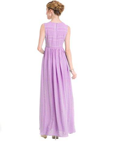 vestido de gasa de la cintura del temperamento vestido de rayas de moda redonda del cuello sin mangas de las mujeres 1