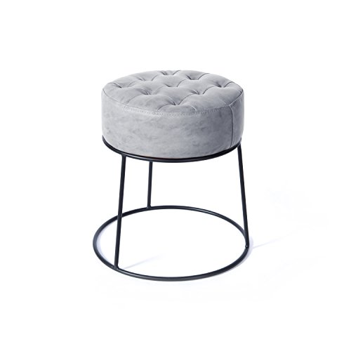 Chair Ottoman Upholstered Stool - Art Leon Small Round Ottoman Stackable Footstool Leather Pouf Ottoman Foot Rest for Living Room,Vanity,Dorm,Apartment,Light Gray