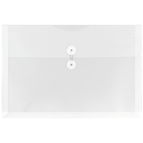 JAM PAPER Plastic Envelopes with Button & String Tie Closure - Legal Booklet - 9 3/4 x 14 1/2 - Clear - 12/Pack