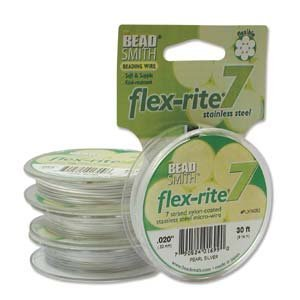 Pearl Silver Flex Rite Beading Stringing Wire .020 Inch 30 Feet Nylon Coated Stainless Steel 7 Strand Tigertail 26.9lb Break