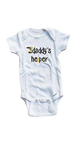 Baby Tee Time Baby Boys' Daddy's helper One piece 6-12 Months White