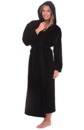 Alexander Del Rossa Womens Plush Fleece Robe with Hood, Small Medium Black (A0116BLKMD)