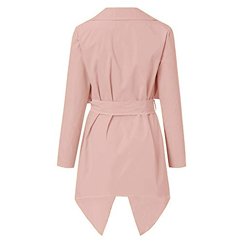 NUWFOR Women's Loose Solid Irregular Hem with Lapel Coat Trench Coat Cardigan Tops(Pink,S) by NUWFOR (Image #2)