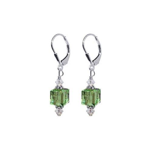 (Gem Avenue 925 Sterling Silver Cube Shape Handmade Swarovski Elements Green Crystal Leverback Drop Earrings for Women )