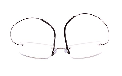 2a811c815f3 Agstum Pure Titanium Rimless Frame Prescription Hingeless Eyeglasses Rx