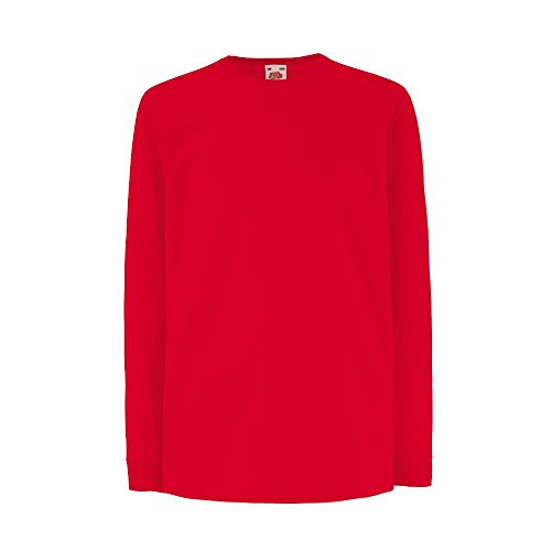 Fruit of the Loom - Kids Langarm T-Shirt Value Weight T 140,Red