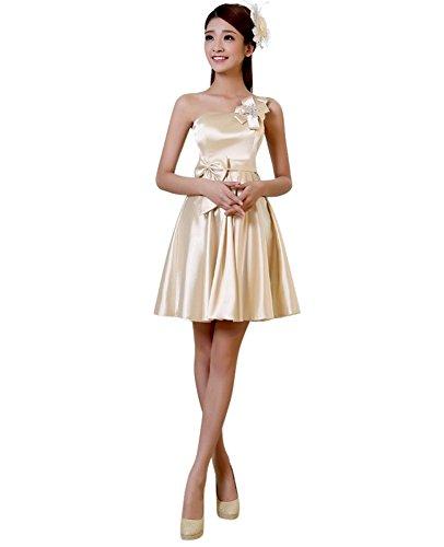 Party Shoulder Drasawee Zipper Women Champagne Formal Dress Evening Up One Short qRRXwESx