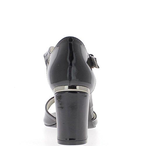 Talón negro sandalias 7, 5cm cuadrado pintados con ala ancha