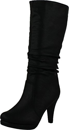 Top Moda Womens Page-43 Mid Calf Round Toe Slouched High Heel Boots, Black ()