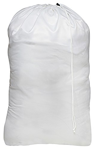 Nylon Laundry Bag - Locking Drawstring Closure and Machine Washable. These Large Bags Will Fit a Laundry Basket or Hamper and Strong Enough to Carry up to Three Loads of Clothes. (White)