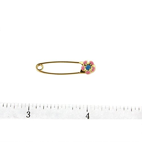 18K YG Safety Pin with Pink and Blue Flower (29mm X 5mm) by Amalia (Image #1)