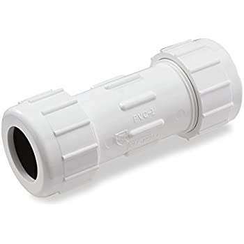 "B /& K Plastic 1-1//2/""x7/"" Compression PVC Coupling 10 Pack"