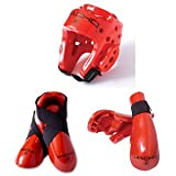 Macho Dyna Sparring Gear Karate TaeKwonDo TKD - Red 5pc Set (Head (Large) - Punch and Kick (Large))
