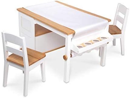 MELISSA & DOUG WOODEN ART TABLE AND 2 CHAIRS SET – LIGHT WOODGRAIN/WHITE