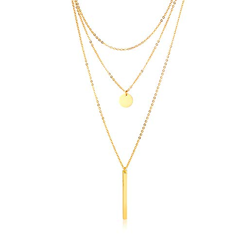 ANDANTINO Multilayer Choker Necklace for Women Circle Bar Pendants 18K Yellow Gold Plated Stainless Steel Sweater Chain- Gift for Lover