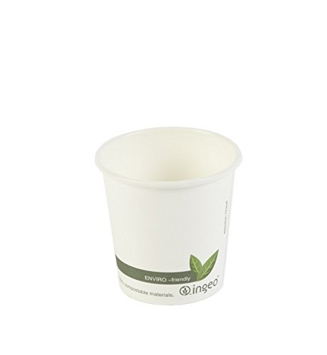dispo Pla Biodegradable blanco taza de bebida caliente 50pk, 4oz ...