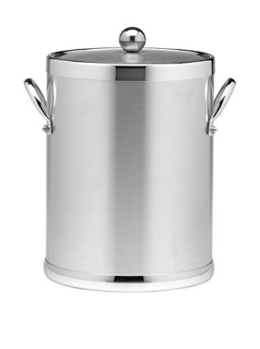 Kraftware 70442 Americano 5 Qt Ice Bucket in Brushed Chrome by (5 Quart Metal Ice Bucket)