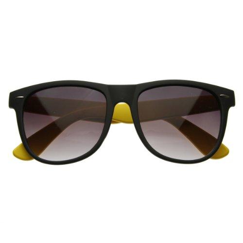 zeroUV - Retro Bright Neon Two Tone Dual Color Assorted Retro Horn Rimmed Sunglasses - Neon Retro Sunglasses