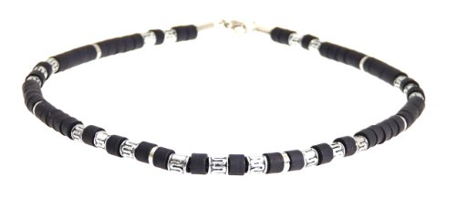 - Surf Surfer Black & Silver Colour Bead Beads Necklace Choker - Style A