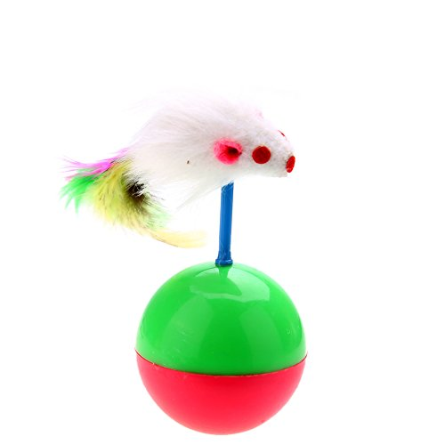 Jocestyle Cat Toys Ball with Catnip Feather Mouse Tumbler Ball Rustle Activity Creative Toy