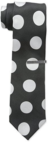 Nick Graham - Corbata de cuello de aguja cuadrada para hombre, Coin Dot (Black), Talla única
