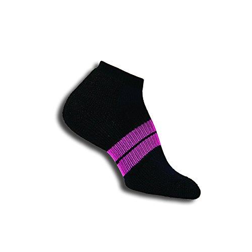 Thorlos Women's Thick Padded 84N Runner Socks, Black/Dark Pink, Medium (Women's Shoe Size 7-9)