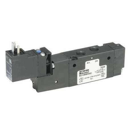 SCHRADER BELLOWS B612BB549A Pneumatic Valve, AIR, 2POSITION, 4WAY, 150PSI, 3/8INCH PTF, SS, 24VDC