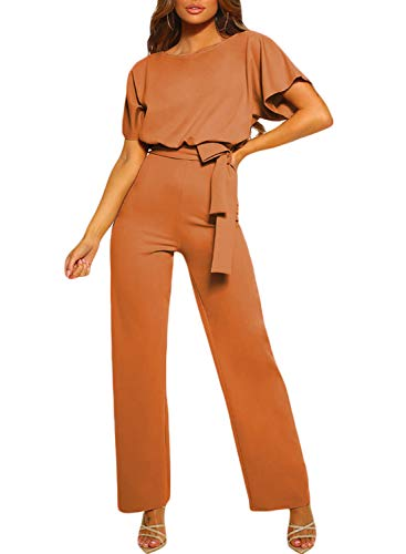 CANIKAT Women's Batwing Short Sleeve Long Pants Wide Legs Tie Front Belted Jumpsuits Casual Round Neck Romper Brown L