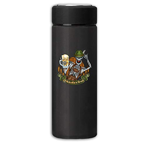 BXWDQI Skeleton In Oktoberfest Outfit Holding Beer Glass Grinding Durable Insulating Cup For Mens&womens One Size Black ()