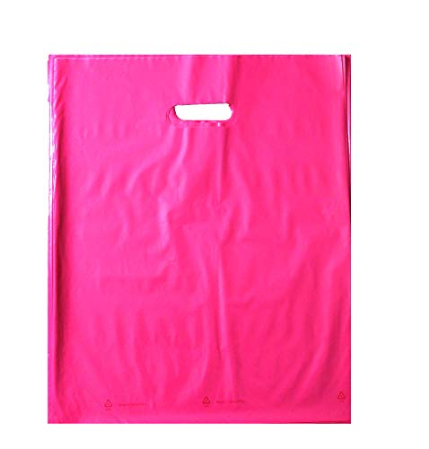 100 12x15 Durable Pink Merchandise bags Die Cut Handle-Glossy finish-Anti-Stretch for Retail Shopping bags, Party favors, Handouts and more by Best Choice (Pink)