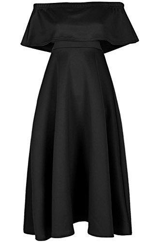 Be Jealous femmes sans manches évasé BARDOT épaule ébourifféà volants SWING Midi robe patineuse UK grande taille 8-26 - Noir, Plus Size (UK 24/26)