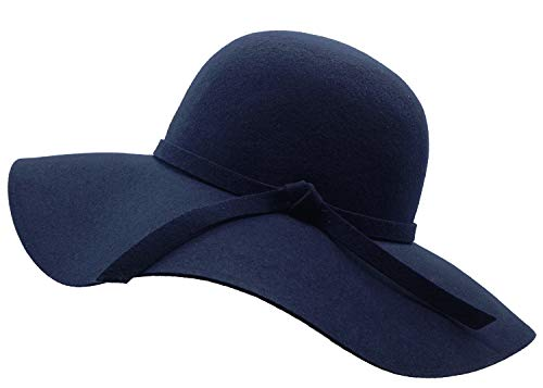 Bienvenu Women's Wide Brim Wool Ribbon Band Floppy Hat, Navy