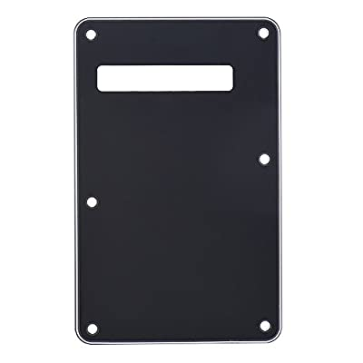 ammoon Pickguard Tremolo Cavity Cover Backplate Back Plate 3Ply for Fender Stratocaster Strat Modern Style Electric Guitar Black from ammoon