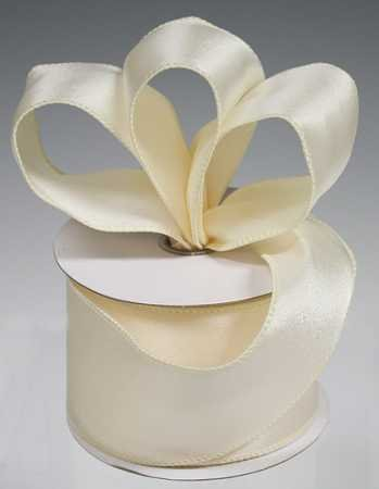 Ivory Wired Satin Ribbon - 3 Spools - 2-1/2