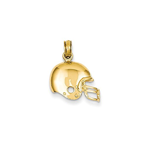 14k Yellow Gold Polished Football Helmet Pendant, 15mm ()