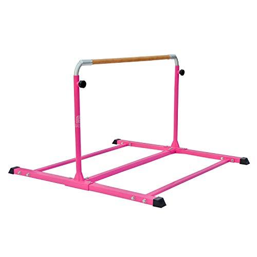 Modern-Depo Adjustable Junior Kip Bar 3'- 5' Gymnastics Horizontal Bar for Kids Home Training, Beech Wood Crossbar, Pink by Modern-Depo (Image #1)