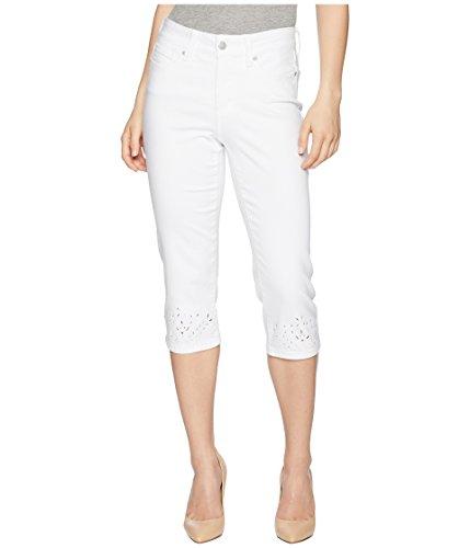 Eyelet Crop Pants - NYDJ Women's Petite Size Marilyn Crop Eyelet Embriodered Hem, Optic White, 12P