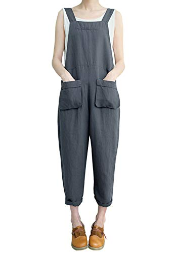Gihuo Women's Baggy Wide Leg Loose Overall Linen Harem Pants (Style02 Grey, X-Large) -