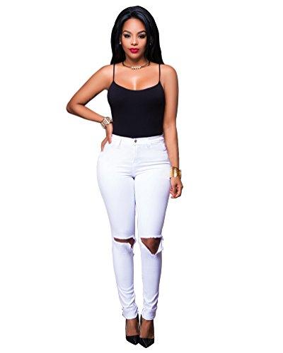 Pantaloni Leggings Scarni Bianca Donna Ginocchio Sentao Skinny Jeans Strappati vqwRTS