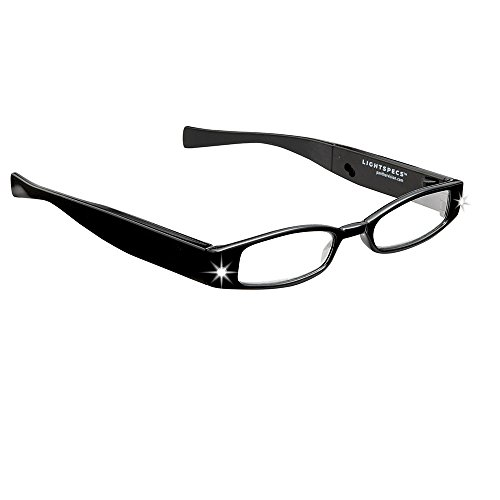 Up Panther Black Close (LIGHTSPECS Women's Rechargeable Ultra Bright LED Lighted Lightweight Rectangular Reading Glasses)
