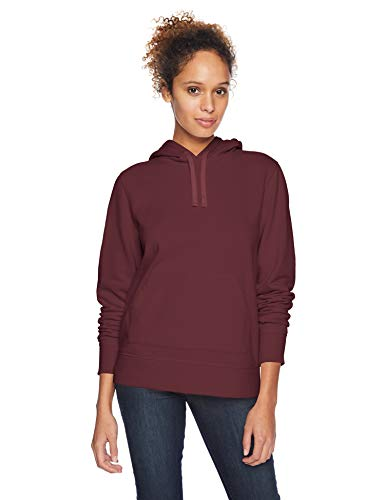 (Amazon Essentials Women's French Terry Fleece Pullover Hoodie Sweater, -burgundy, Small)