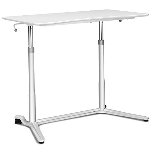 Tangkula Standing Desk Computer Desk, Height Adjustable Sit Stand Desk with Movable Wheels, Portable Writing Study Laptop Table of Iron Pipe Frame, MDF, PVC Tabletop, for Home Office Dorm (For Computer Home Tall Desks)